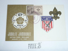 1957 World Jamboree Note Card With Boy Scout Stamp And Cancellation From The 1957 National Jamboree