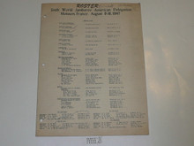 1947 World Jamboree Roster of American Delegation with Names and Addresses