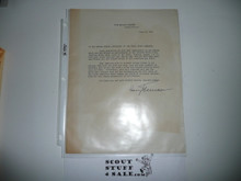 1951 World Jamboree Letter from President Truman to Contingent
