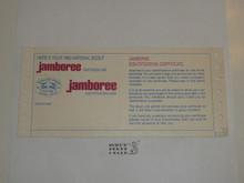 1985 National Jamboree Blank Identification Card
