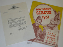 1951 Los Angeles Area Council Boy Scout Circus Brochure Plus Letter from MGM Regarding It