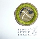 Pioneering - Type C - Tan Crimped Merit Badge (1936-1946), was sewn but in very good condition