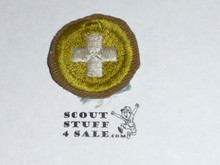 Safety - Type C -  Tan Crimped Merit Badge (1936-1946), used