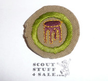Woodwork - Type B - Wide Crimped Bdr Tan Merit Badge (1934-1935), was sewn but in very good condition
