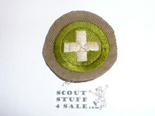 Safety - Type B - Wide Crimped Bdr Tan Merit Badge (1934-1935), was sewn but in very good condition