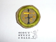 Weather - Type C - Tan Crimped Merit Badge (1936-1946), was sewn but in very good condition