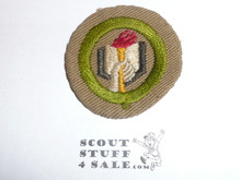 Scholarship - Type B - Wide Crimped Bdr Tan Merit Badge (1934-1935), was sewn but in very good condition