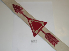 1950's Flocked Felt Vigil Order of the Arrow Sash With Felt Triangle and Flocked Arrows, Used, 29""