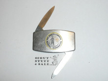 Boy Scouts of America National Headquarters Pocketknife, 1960's, Greetings From Chief Scout Executive Alden Barber on Reverse, Made by Zippo Lighter Company, Light Wear to Case but not Blade