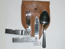 1960's Official Boy Scout Eating Utensil Set, Made By Imperial, With Case, Light Use