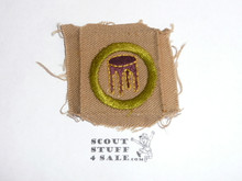 Woodwork (stool) - Type A - Square Tan Merit Badge (1911-1933), used