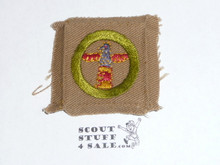 Wood Carving - Type A - Square Tan Merit Badge (1911-1933), used