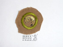 Stalking - Type A - Square Tan Merit Badge (1911-1933), trimmed