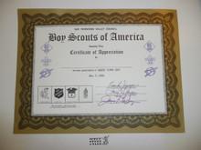 1968 San Fernando Valley Council Certificate of Appreciation Good Turn Day, Blank