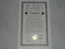 1950 Council Charter Certificate, Stanford Area Council, Original Arthur Schuck Signature, 10 year Veteran