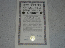 1947 Council Charter Certificate, Stanford Area Council, Original Elbert Fretwell Signature, 5 year Veteran
