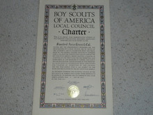 1944 Council Charter Certificate, Stanford Area Council, Original Elbert Fretwell Signature