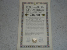 1941 Council Charter Certificate, Delta Council, Original James E West Signature, 15 year Veteran