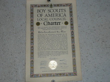 1940 Council Charter Certificate, Delta Council, Original James E West Signature, 15 year Veteran Council
