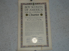 1939 Council Charter Certificate, Delta Council, Original James E West Signature, 15 year Veteran Council