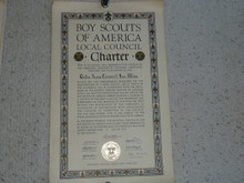 1937 Council Charter Certificate, Delta Council, Original James E West Signature, 10 year Veteran Council