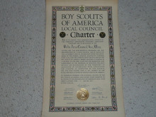 1936 Council Charter Certificate, Delta Council, Original James E West Signature, 10 year Veteran Council
