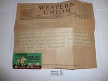 1937 National Jamboree Telegram from E.S. Martin confirming staff appointment as Photographic Editor of Jamboree Journal