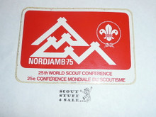 1975 World Jamboree Rectangular Sticker, Red