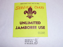 1967 World Jamboree Jamboree Service Corps Unlimited Jamboree Access Sticker
