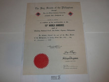 1959 World Jamboree Certificate of Participation, presented