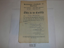 1929 World Jamboree Preliminary Certificate of Discharge for US Contingent Member