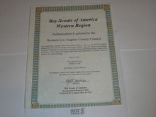 2002 Western Region Gilwell Troop Charter for Wood Badge Training Certificate, presented