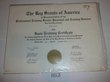 1968 Basic Training Professional BSA Certificate, presented