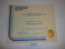 1984 Professional BSA Certificate for completion of Professional Circle, presented