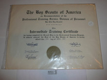 1957 Intermediate Training Professional BSA Certificate, presented