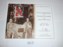 2005 Order of the Arrow Rededication Certificate, blank