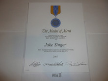 2007 Certificate for the Medal of Merit for Meritorious Action, presented