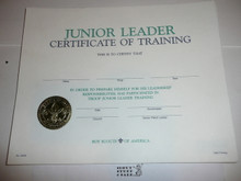 1995 Junior Leader Certificate of Training, blank