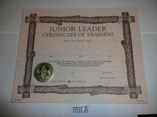 1988 Junior Leader Certificate of Training, blank