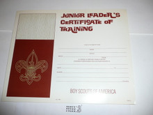 1971 Junior Leader's Certificate of Training, blank