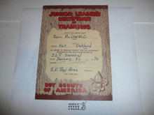 1968 Junior Leader's Certificate of Training, presented