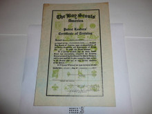 1939 Patrol Leader's Certificate of Training, presented