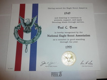 1995 National Eagle Scout Association Certificate, presented #2