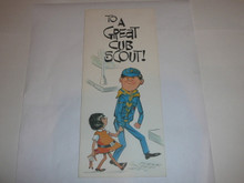 1968 Cub Scout Birthday Card with Cub and girl on the Cover, Happy Birthday on the inside