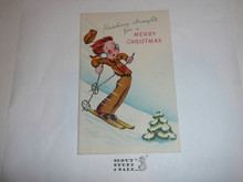 1950's Boy Scout Christmas Card with Scout Skiing on the Front, with Envelope