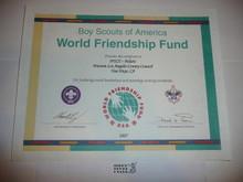 2007 World Friendship Fund Contribution Appreciation Certificate, presented