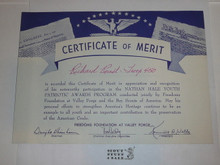 Undated Freedom Foundation Nathan Hale Youth Patriotic Awards Program Certificate