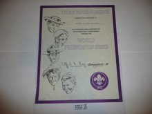 1990's World Friendship Fund Contribution Appreciation Certificate, presented