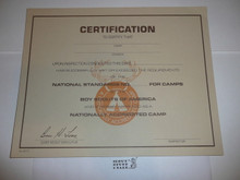 1990's Certificate presented after camp inspection for meeting National Standards and getting Accredited, blank