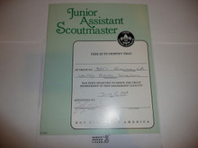 1989 Junior Assistant Scoutmaster Warrant Certificate, partically completed